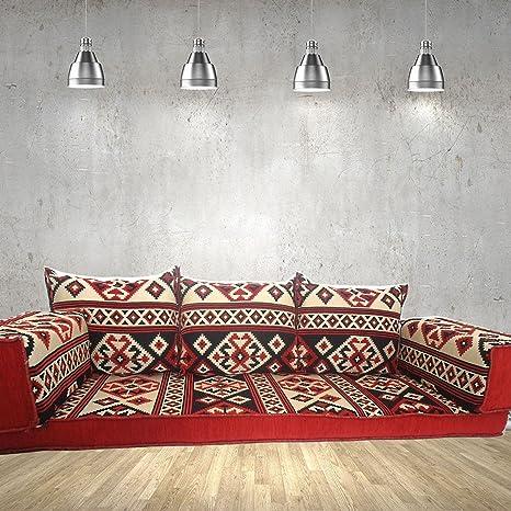 Étnico interior Home muebles Diseño Majlis, hecho a mano sofá para suelo, árabe, Árabe Jalsa, suelo asiento sofá, cojines, Oriental, sala de estar decoración, Kilim de suelo asiento, pipa de barra muebles s