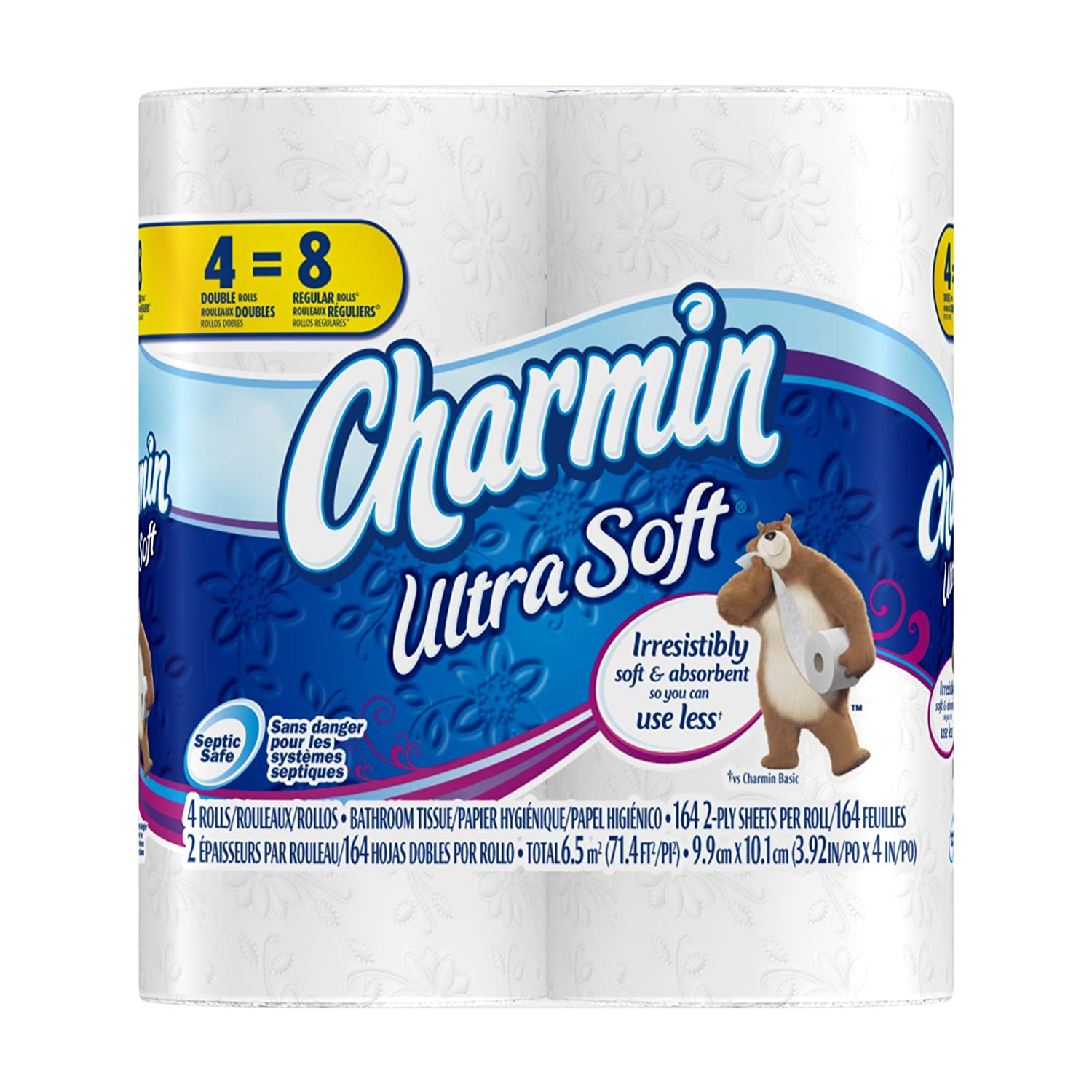 Charmin ultra soft toilet paper 10 packs of 4 double rolls bathroom