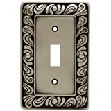 Franklin Brass 64048 Paisley Single Toggle Switch Wall Plate/Switch Plate/Cover, Brushed Satin Pewter (Color: Brushed Satin Pewter, Tamaño: Single)