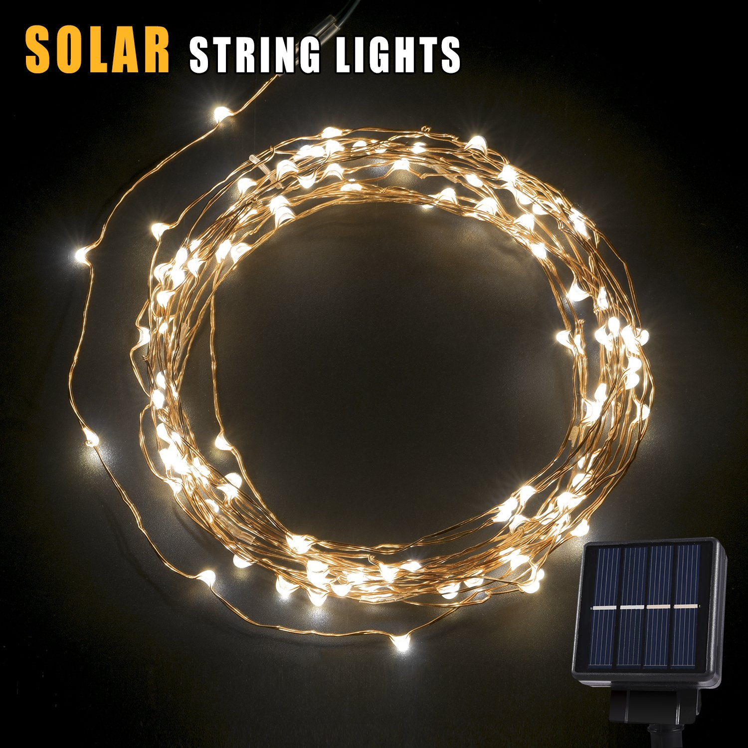 Exterior Solar String Lights : Solar LED String Light 120 LEDs Outdoor Solar Powered LED String Lights Water... eBay