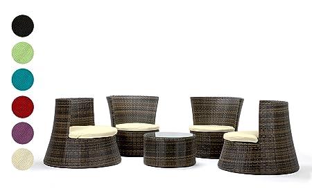 Salon de jardin DE LUXE de 5 pièces en rotin tressé coloris marron mix chic et moderne coloris des coussins au choix: rouge groupe de sièges modèle PISA fabrication manuelle de Rattan4Life Garantie 3 ans