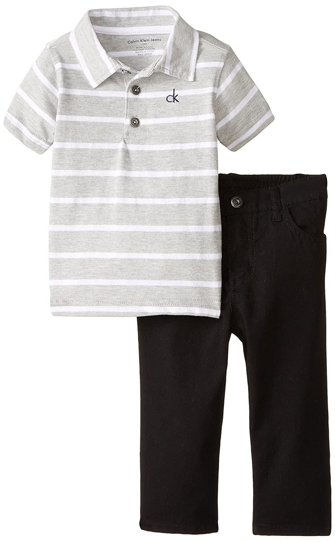 Calvin Klein Baby Boys' Gray Polo with Blue Pants calvin klein new orange snake print drawstring soft pants m $79 5 dbfl
