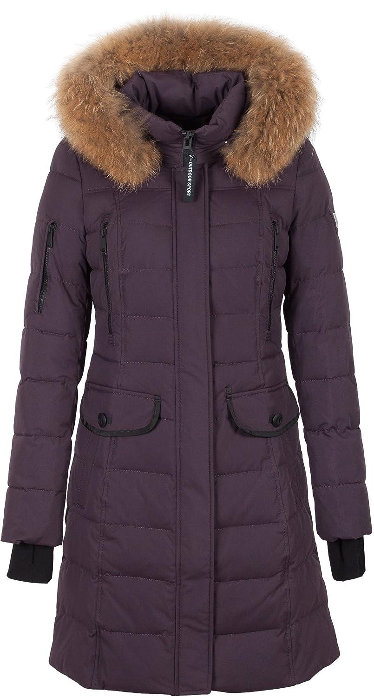 "SI-V304 Damen Winterjacke Parka in Daunen-Optik ""SNOWIMAGE"" mit Echtfellkapuze pflaume günstig kaufen"