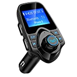Bluetooth FM Transmitter, Atmoko Wireless in-Car Audio Adapter Receiver, Hands-Free Car Kit, Music Player with 2 USB Ports and AUX Input/Output TF Card, 1.44-inch Large Screen (Color: 1.Black)