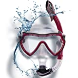 Water Foxy Snorkel Set with diving mask and dry Snorkel - Single lens swim mask with Anti-fog Protection and Tube with Purge Valve Anti-Splash Guard for Kid, Youth and Adult Divers (Color: Vinous)