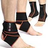 Ankle Support Kit - 4 Pack - Ankle Brace Straps (1 Pair) & Ankle Compression Sleeves with Arch Supports (1 Pair) - Best for Sports Protection, Injury Recovery, Reduce Swelling, Ankle Strain (Large) (Color: Ankle Brace Kit (4pcs), Tamaño: Large)