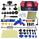 Super PDR 52pcs Car Auto Body Paintless Dent Puller Repair Remover Tool Kit Set for Hail Damage and Door Ding Removal Bridge Dent Puller Lifter kits Hot Melt Glue Gun with Slide Hammer (Color: 64pcs pdr kit)