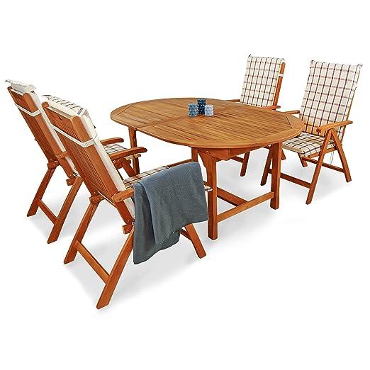 indoba® IND-70068-BASE5 + IND-70409-AUHL - Serie Bali - Gartenmöbel Set 9-teilig aus Holz FSC zertifiziert - 4 klappbare Gartenstuhle + ausziehbarer Gartentisch + 4 Comfort Auflagen Karo Weinrot