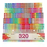 Aen Art Gel Pens 160 Colored Gel Pen Set with 160 Refills Giving 320 Brilliant Gel Colors Perfect for Adult Coloring Books Drawing Painting Writing Marker (Color: 160 Pack)