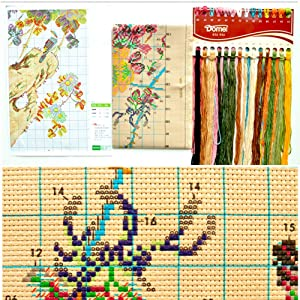 DOMEI Stamped Cross Stitch Kit, Orchid with Two Birds, 11.4 x 32.3 inches (Color: Orchid)