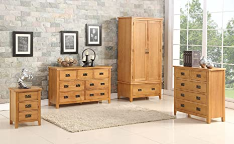 Berwick Chêne naturel Sélection d'Ensemble de meubles de chambre à coucher - Ensemble complet de meubles pour la chambre à coucher, BERWICK OAK TRIO SET