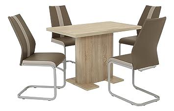 Essgruppe Saskia Set 5-teilig, Tisch Sonoma Eiche + 4 Stuhle braun, B110 x T76 x H76 cm  Apollo