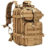 WolfWarriorX Military Tactical Assault Backpack Hiking Bag Extreme Water Resistant Small Rucksack Molle Bug Out Bag for Traveling, Camping, Trekking & Hiking (Coyote) (Color: Coyote)