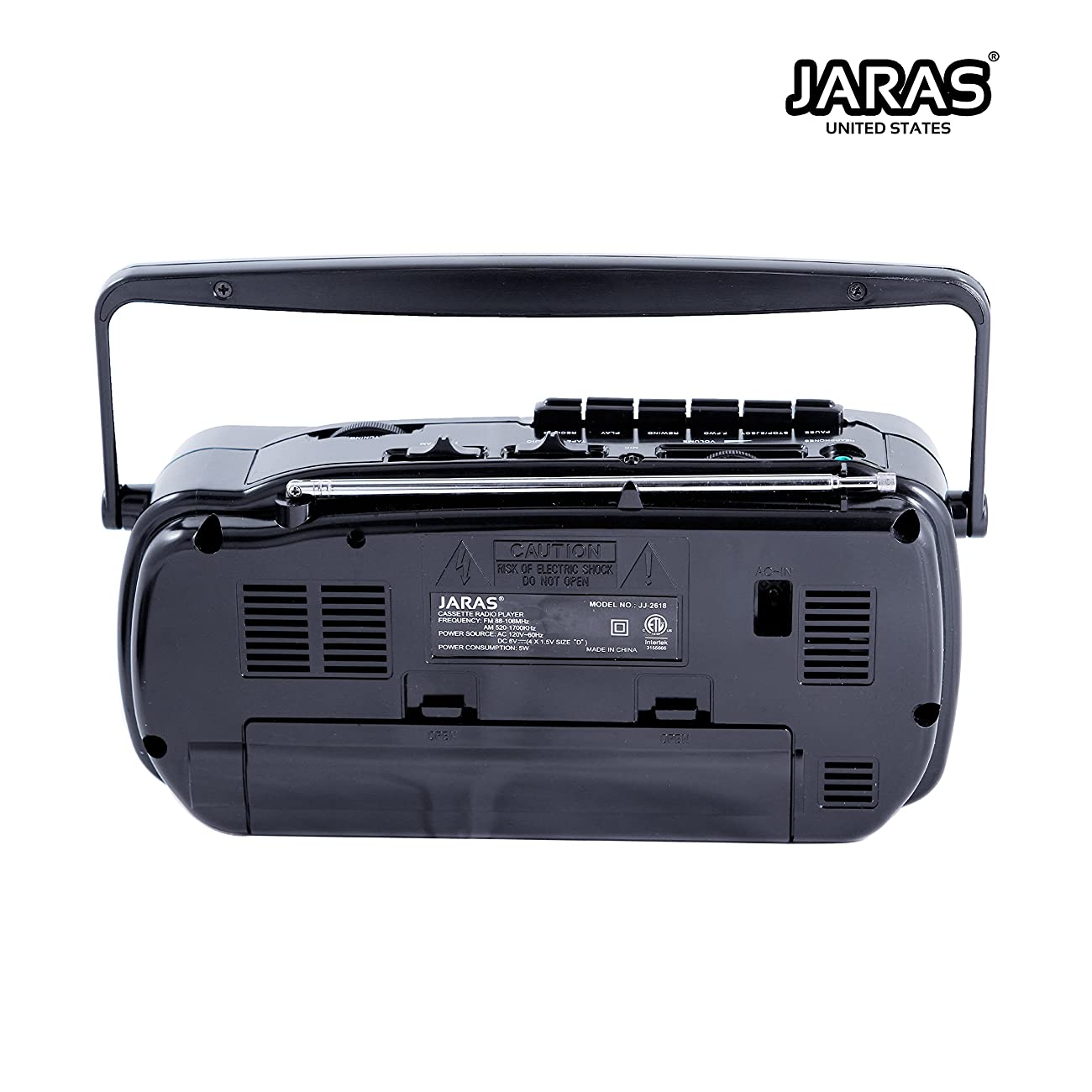 Jaras JJ-2618 Limited Edition Portable Boombox Tape Cassette Player/recorder with AM/FM Radio Stereo Speakers & Headphone Jack 3
