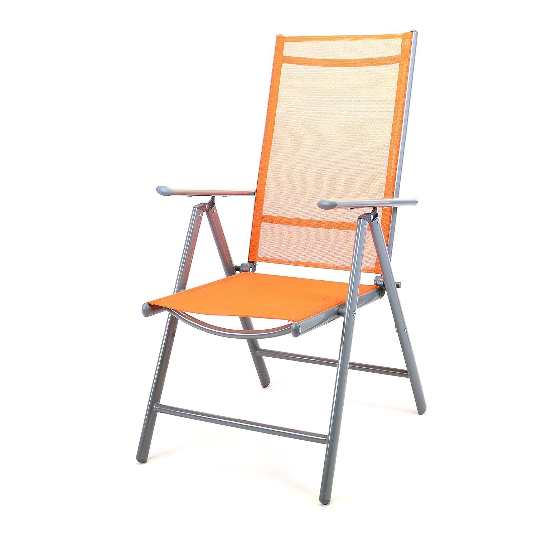 Klappstuhl Aluminium Gartenstuhl Alu Campingstuhl verstellbar orange hochlehnig günstig kaufen