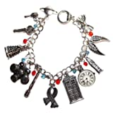 Doctor Who TV Series Silvertone Assorted Themed Metal Charm BRACELET