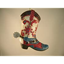 Red and Blue Cowboy Boot Christmas Ornament