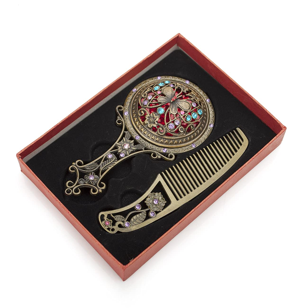 ALICE Bronze Antique Hand Mirror and Comb Set, With Gift Box 1