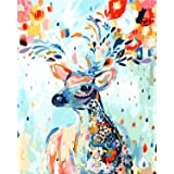 [Framless] Diy Oil Painting Paint by Number Kit for Adult Kids - Painted Deer 16X20 Inch (Color: Frameless,just Canvas)