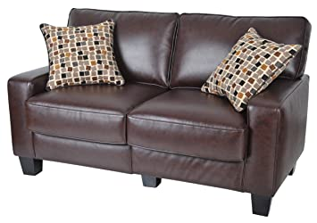 Serta CR-43532P Monaco Collection 60inch Love Seat, Biscuit Brown