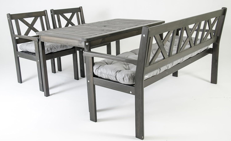 GARDENho.me Nordische Gartenmöbel Massivholz Sitzgarnitur EVJE inkl. Kissen 5 Farbvarianten Tischgruppe Taupegrau online kaufen