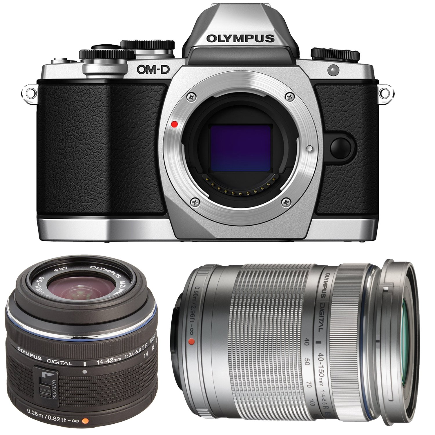 Olympus OM-D E-M10 16 MP Mirrorless Digital Camera with 14-42mm 2RK lens (Silver) V207021SU000 + Olympus M. 40-150mm F4.0-5.6 R Zoom Lens Silver for Olympus & Panasonic Micro 4/3 Cameras V315030SU000
