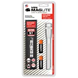 Maglite Mini LED 2-Cell AA Flashlight with Holster, Silver (Color: Silver, Tamaño: One Size)