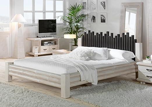 Bambus Bett 160x200 Weiß CABANA exotisches Bett Doppelbett Holzbett Ehebett