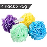 4-Pack Jcmaster Large Shower Sponge Pouf with White Edge, 75g