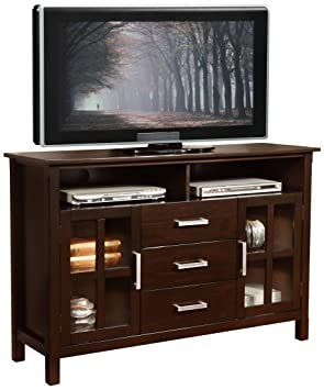 "Simpli Home Kitchener Tall TV Stand, 53""W x 35""H, Dark Walnut Brown"