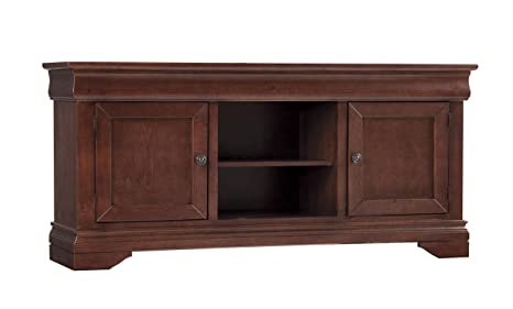 64 in. TV Console Table in Auburn Cherry Finish