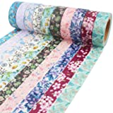 Floral Washi Tape 10m Long Each Roll Decorative Masking Tape Japanese Paper Tapes Fabric Tape for Arts and Crafts, DIY Projects, Scrapbooks, Calendar, Bible Journaling and Gift Wrapping (Color: Patterns B, Tamaño: Floral Patterns 2)
