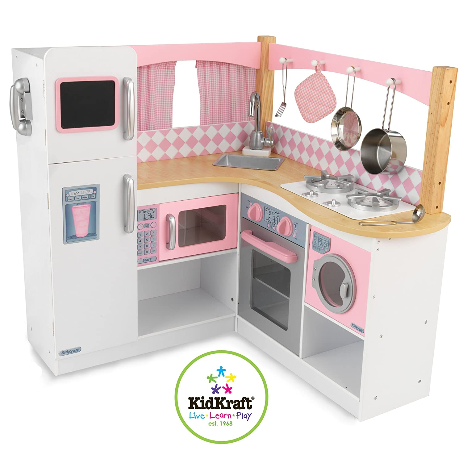Wooden kitchen playset kids kitchen playsets wood for Kitchen set wooden