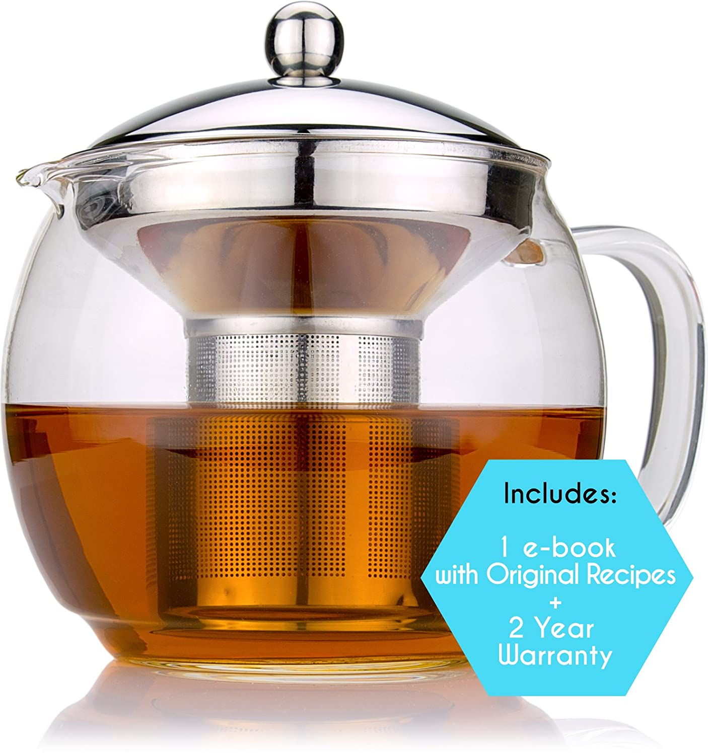 Glass Teapot with Infuser for Blooming and Loose Leaf Tea Pot by Cozyna, 41oz | 1.2 Liter, Lotus