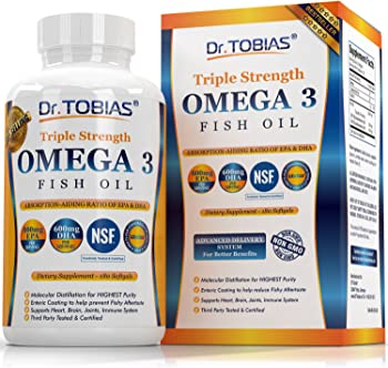 Dr. Tobias Omega 3 Fish Oil Triple Strength Burpless (180-Cts.)