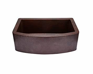 "33"" x 22"" Copper Curved Front Single Bowl Farmhouse Kitchen Sink"