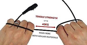 KS K-STORM Police Earpiece Headset Headphone with Big PTT for Hytera Radio PD580 PD700 PD780 PT580H PT-580 etc, Kevlar Material, G Shape, Black (Color: Black)