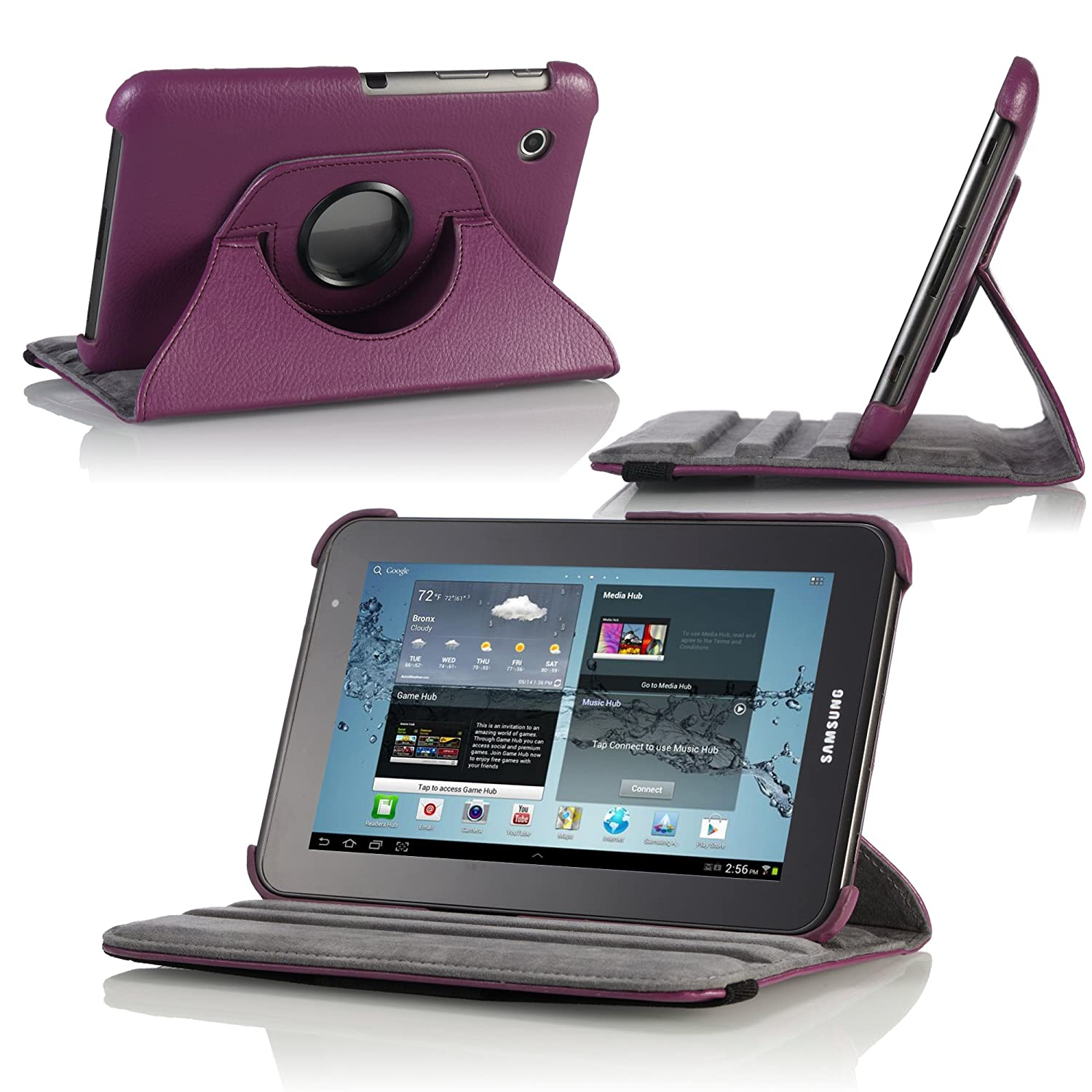 MoKo 360 Degrees Rotating Stand Case for Samsung GALAXY Tab 2 7.0, Purple (with Vertical and Horizontal Stand and Stylus Loop)