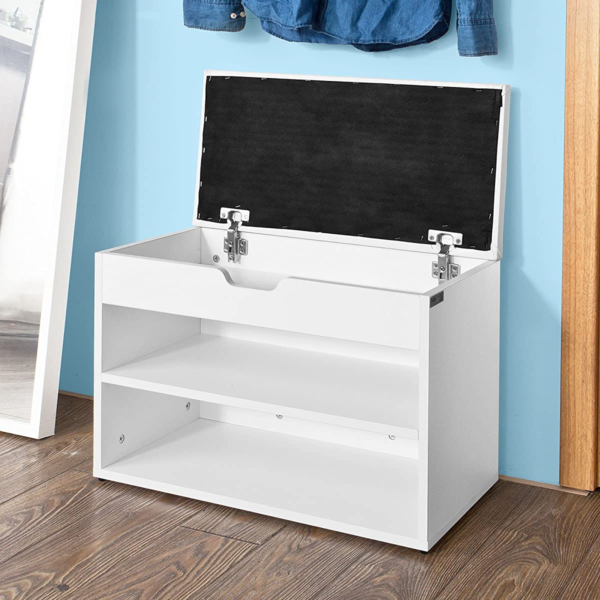 SoBuy FSR25-W, Wooden Shoe Cabinet, 2 Tiers Shoe Storage Bench Shoe Rack with Folding Padded Seat, 60x30x44cm, White