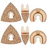 6pcs Universal Carbide Oscillating Saw Blades, HEMUNC Mixed Multitool Saw Blades Semicircle Triangular Finger Kit for Tile Grout Mortar Concrete Masonry (Color: Golden, Tamaño: Standard)