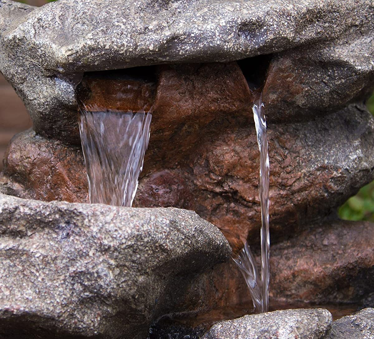 Bear Creek Waterfall Fountain: Towering Rock Outdoor Water Feature for Gardens & Patios. Hand-crafted Weather Resistant Resin. LED Lights & Pump Included.