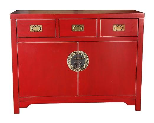 """Sit-Möbel 1809-25 cómoda """"Chinese"""", 110 x 42 x 85 cm, con el diseño de la dinastía Ming, de álamo maciza pintado en rojo"""
