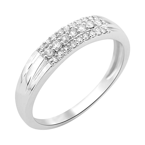 Miore Wedding Ring, 9 Carat White Gold-Diamond 0.15 cts T56-MF9070R6