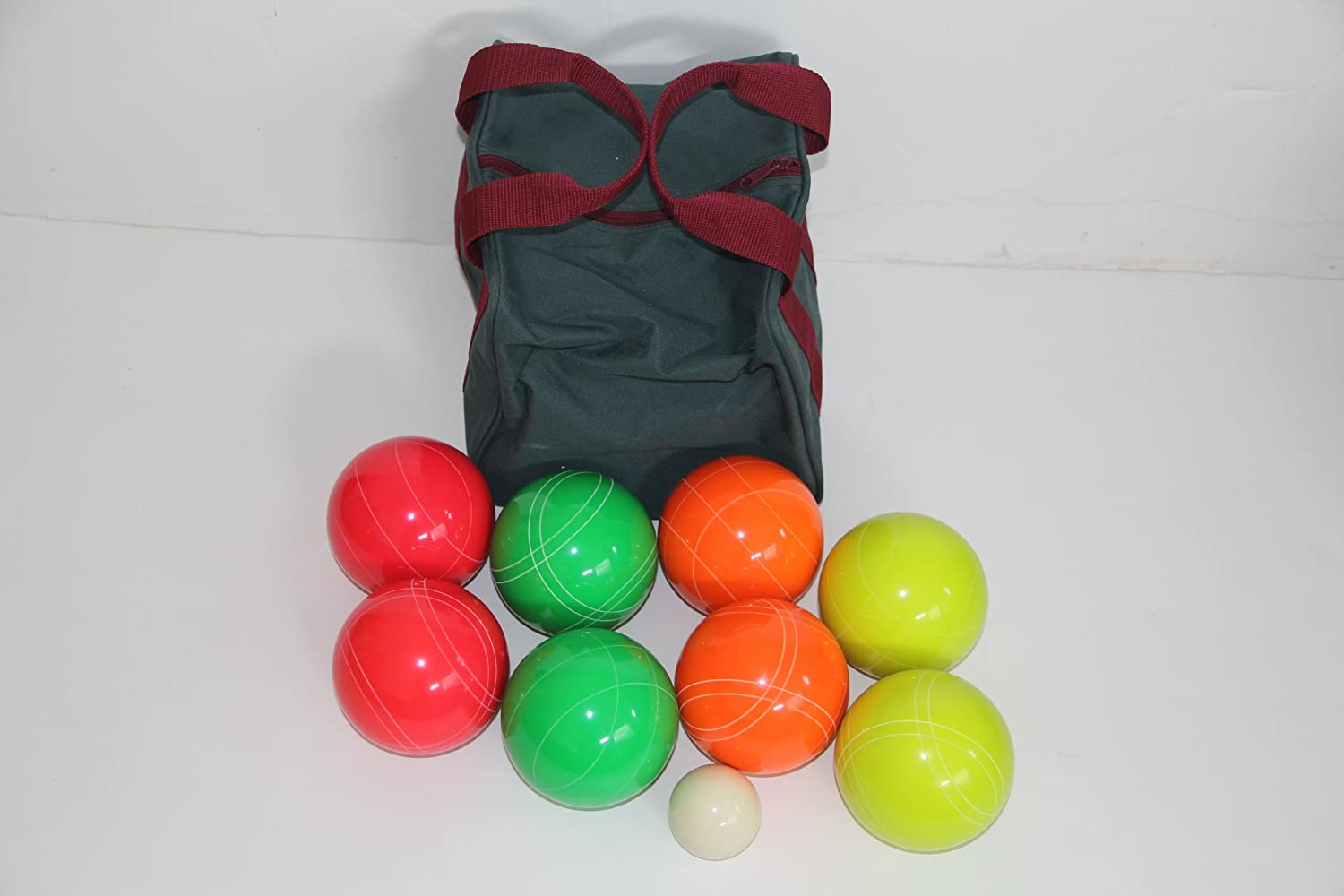 Premium Quality EPCO GLO Tournament Bocce Set - 107mm Green, Red, Yellow, Ora...