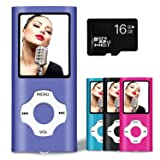 Lonve MP3 Player MP4 Player 16GB Portable Media Music Player with FM Radio Voice Recorder Supporting MP3 WMA WAV Purple (Color: Purple)