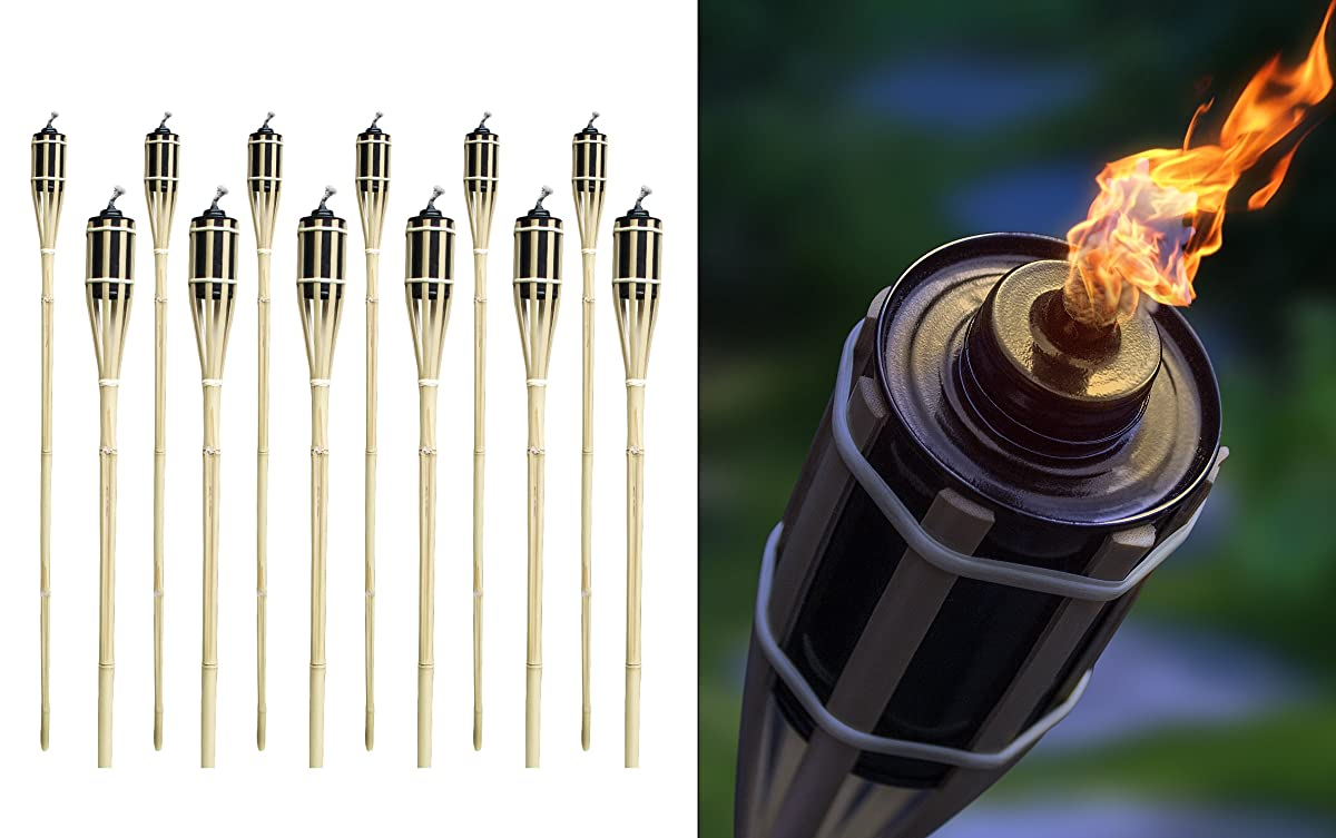 Bamboo Torches – Set of 12 – Includes Metal Oil Canisters