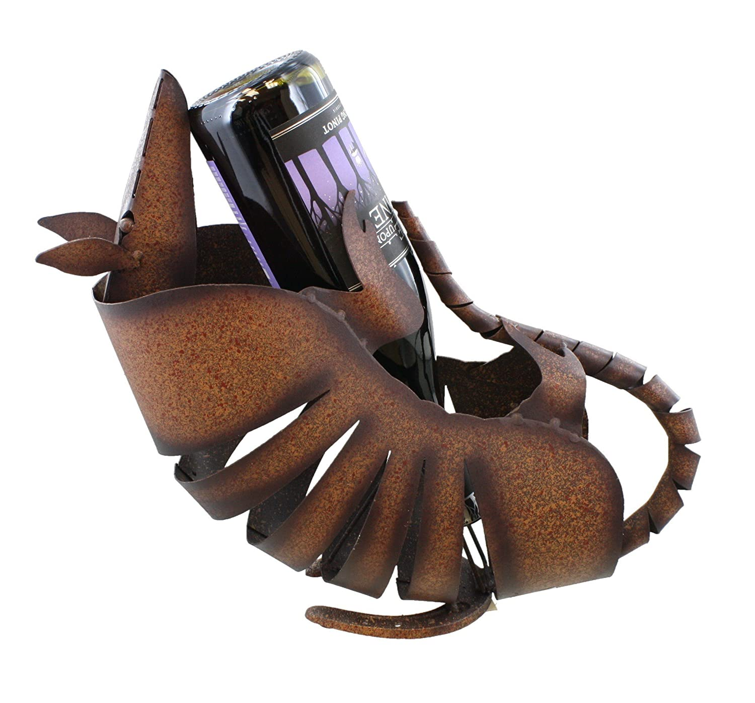 Large Springy Head - Metal Armadillo Wine Bottle Holder - Welded Western Art Sculpture Figure
