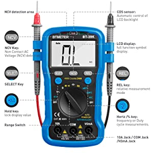 Multimeter - BTMETER BT-39K Auto Range Digital Universal Meter 4000 Counts With New Substitutable Fixed Mode, NCV, Diode,DC & AC Voltage, DC & AC Curr