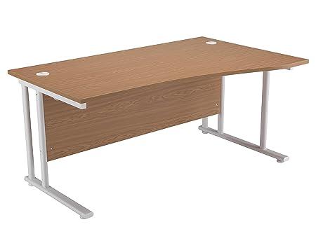 Office Hippo 1600mm Right Hand Wave Cantilever Workstation Desk White Frame - Oak
