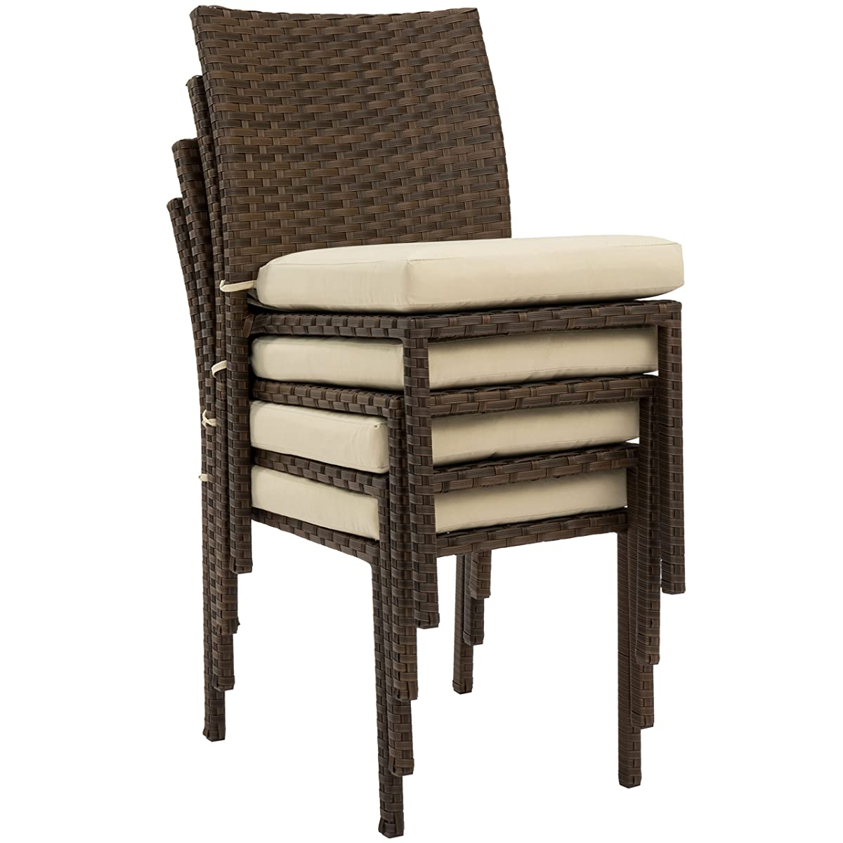 Best Choice Products Outdoor Wicker Patio Stacking Chairs Set of 4 -Brown